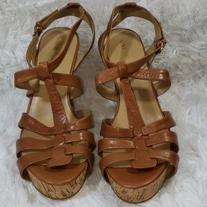 Nine west Tan open toe strappy wedge sandals
